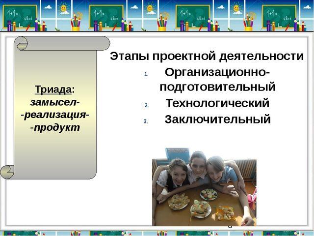 Этапы проектной деятельности Организационно-подготовительный Технологический...