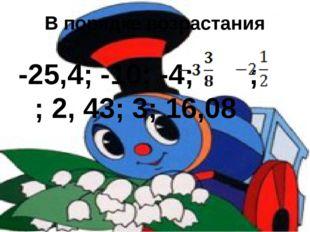 В порядке возрастания -25,4; -10; -4; ; ; 2, 43; 3; 16,08