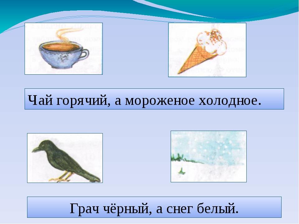 Чай горячий, а мороженое холодное. Грач чёрный, а снег белый.