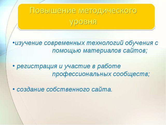 изучение современных технологий обучения с помощью материалов сайтов; регист...