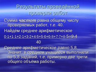 Результаты проведённой проверки работ Сумма частот равна общему числу проверя