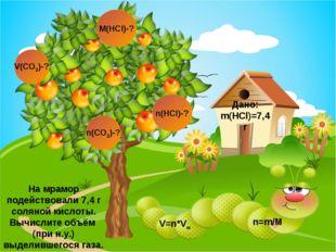 V(CO2)-? n(CO2)-? Дано: m(HCl)=7,4 г M(HCl)-? n(HCl)-? n=m/M На мрамор подейс
