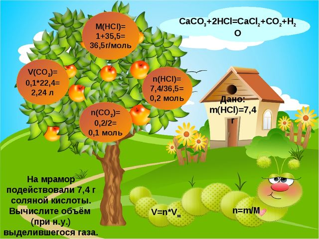 CaCO3+2HCl=CaCl2+CO2+H2O V(CO2)= 0,1*22,4= 2,24 л n(CO2)= 0,2/2= 0,1 моль Дан...