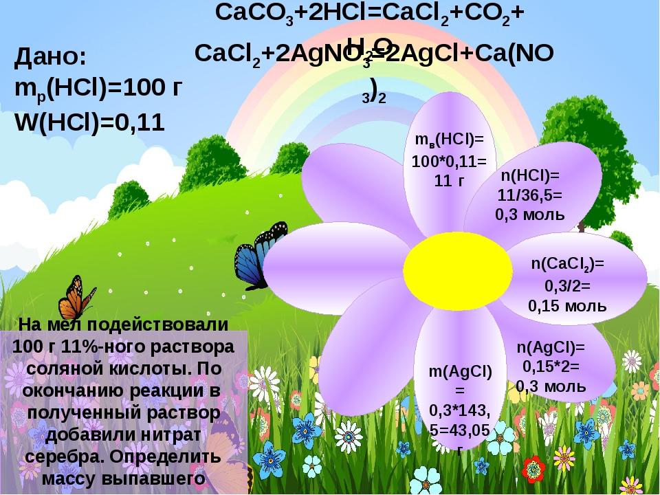 CaCO3+2HCl=CaCl2+CO2+H2O Дано: mр(HCl)=100 г W(HCl)=0,11 На мел подействовали...