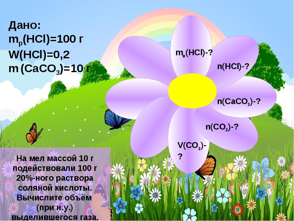 Дано: mр(HCl)=100 г W(HCl)=0,2 m (CaCO3)=10 г mв(HCl)-? n(HCl)-? n(CaCO3)-?...