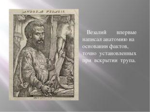 Везалий впервые написал анатомию на основании фактов, точно установленных пр