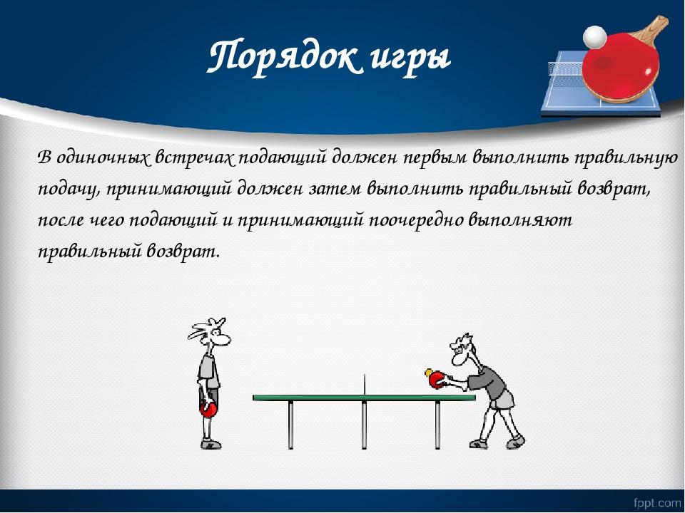 Порядок игры В одиночных встречах подающий должен первым выполнить правильну...