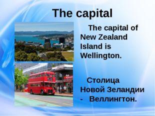 The capital The capital of New Zealand Island is Wellington.  Столица Новой