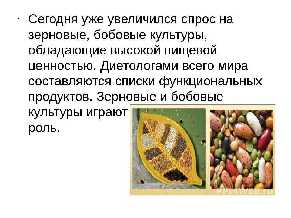 Сегодня уже увеличился спрос на зерновые, бобовые культуры, обладающие высок...