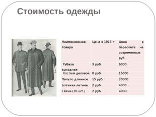 Стоимость одежды Наименование товара Цена в 1913 г Цена в пересчете на соврем
