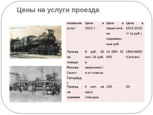 Цены на услуги проезда название услуг Цена в 1913 г Цена в пересчете насоврем
