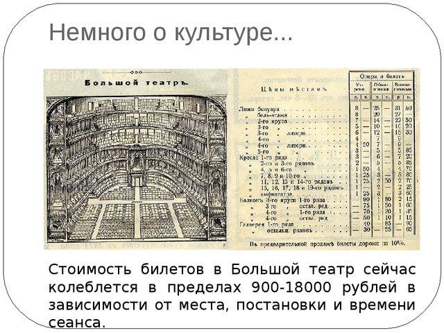 Немного о культуре... цены Стоимость билетов в Большой театр сейчас колеблетс...
