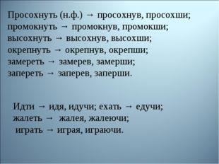 Просохнуть (н.ф.) → просохнув, просохши; промокнуть → промокнув, промокши; вы