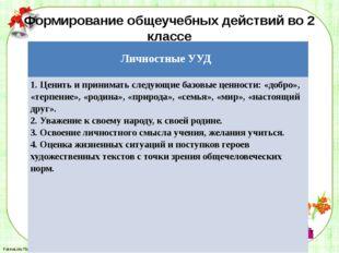 Формирование общеучебных действий во 2 классе ЛичностныеУУД 1. Ценить и прини
