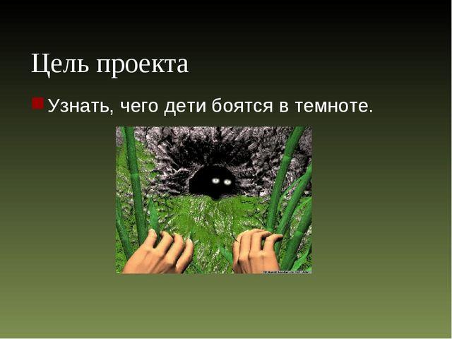 Цель проекта Узнать, чего дети боятся в темноте.