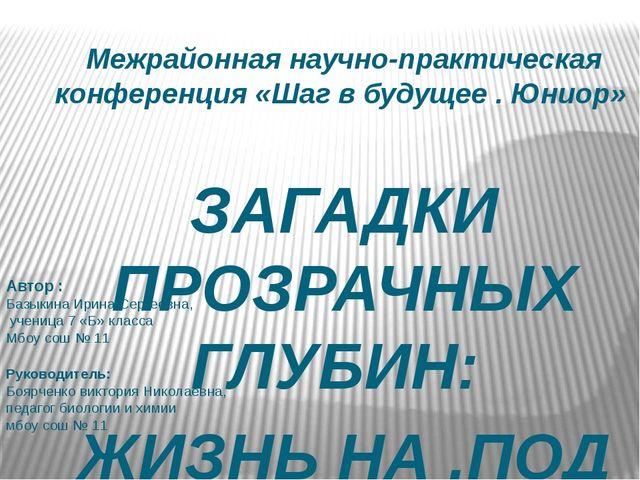 Межрайонная научно-практическая конференция «Шаг в будущее . Юниор» ЗАГАДКИ П...