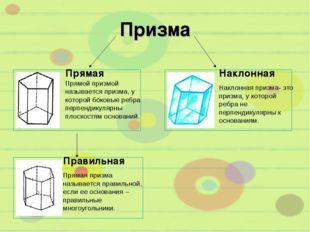 Призма Прямая Прямой призмой называется призма, у которой боковые ребра перпе