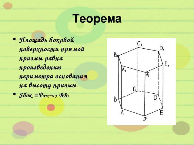 Теорема Площадь боковой поверхности прямой призмы равна произведению периметр...