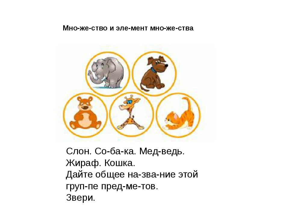 Слон. Собака. Медведь. Жираф. Кошка. Дайте общее название этой группе п...