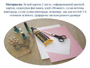 Материалы: белый картон 2 листа, гофрированный цветной картон, скорлупки фист