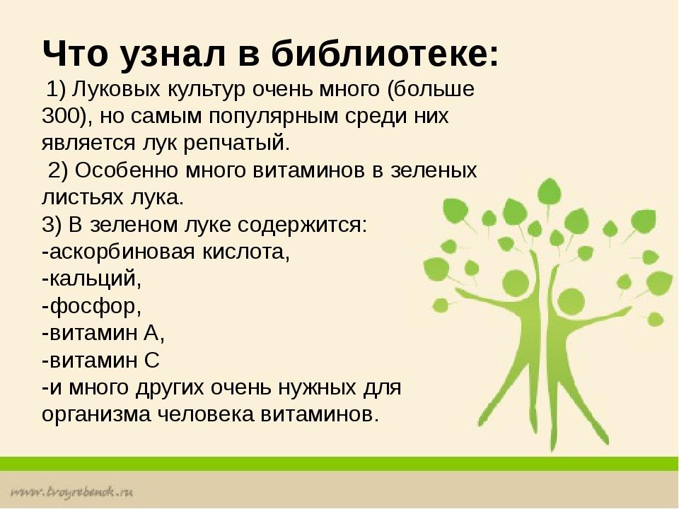 Что узнал в библиотеке: 1) Луковых культур очень много (больше 300), но самы...