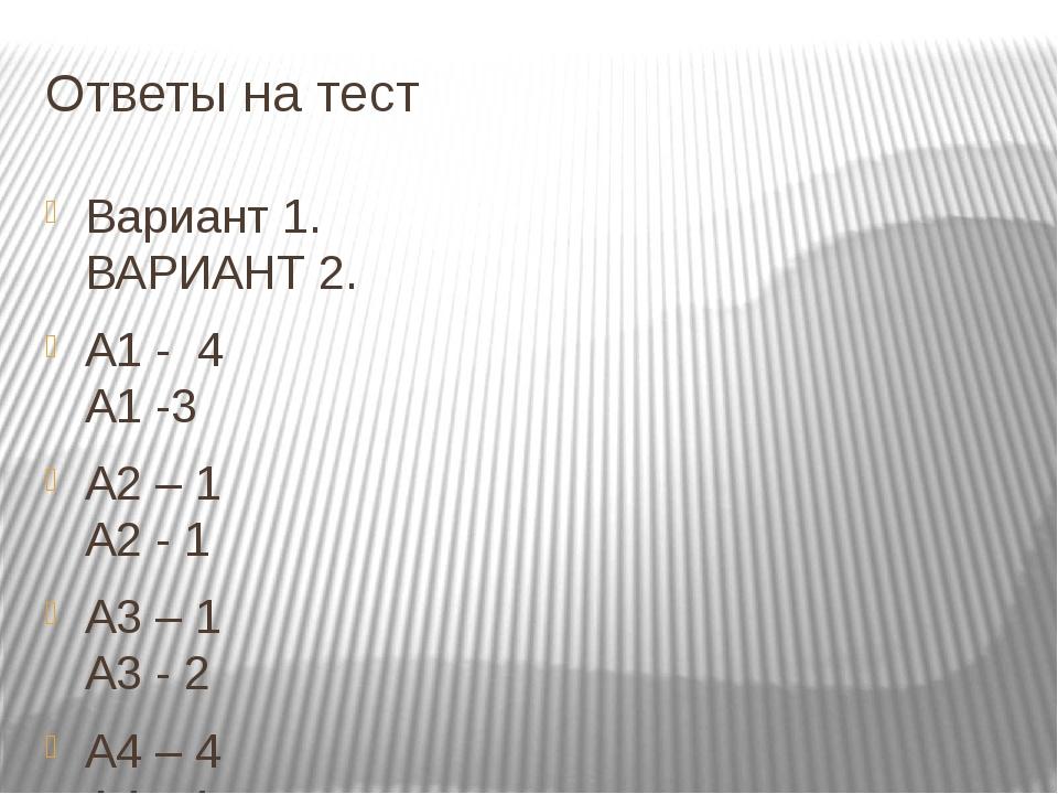 Ответы на тест Вариант 1. ВАРИАНТ 2. А1 - 4 А1 -3 А2 – 1 А2 - 1 А3 – 1 А3 - 2...