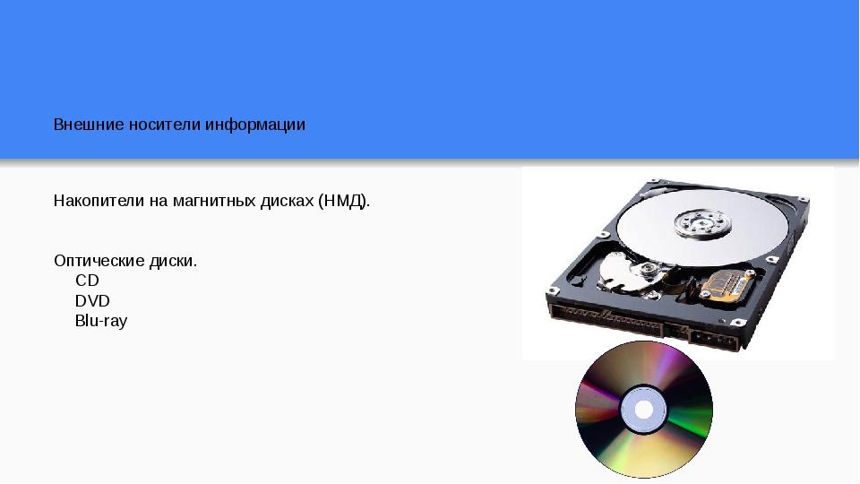 Внешние носители информации Накопители на магнитных дисках (НМД). Оптические...