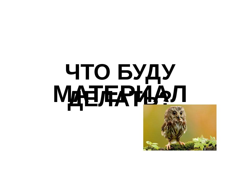 ЧТО БУДУ ДЕЛАТЬ? МАТЕРИАЛ