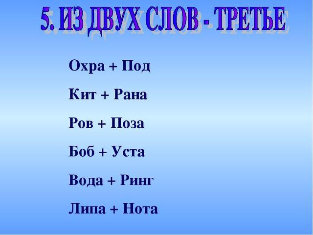 Охра + Под Кит + Рана Ров + Поза Боб + Уста Вода + Ринг Липа + Нота