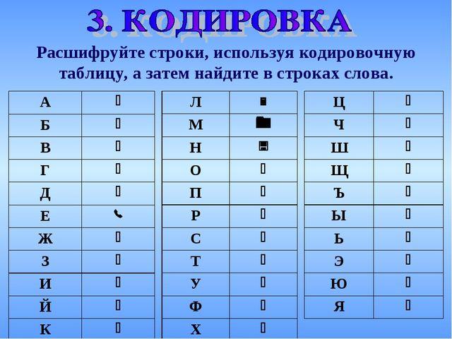 Расшифруйте строки, используя кодировочную таблицу, а затем найдите в строках...