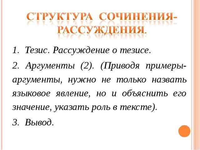 1. Тезис. Рассуждение о тезисе. 2. Аргументы (2). (Приводя примеры-аргументы...