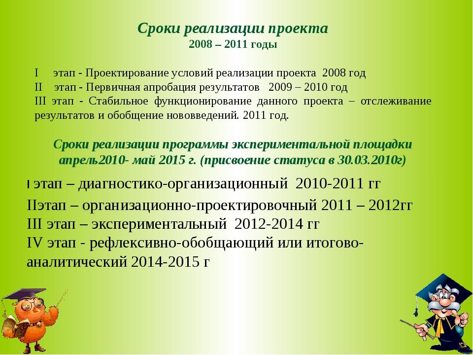 Сроки реализации проекта 2008 – 2011 годы I этап - Проектирование условий реа...