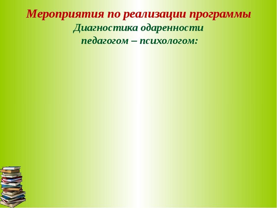 Мероприятия по реализации программы Диагностика одаренности педагогом – психо...