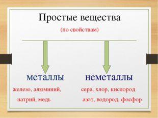 Простые вещества (по свойствам) металлы неметаллы железо, алюминий, сера, хло
