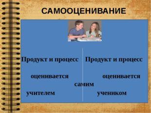 САМООЦЕНИВАНИЕ Продукт и процесс Продукт и процесс оценивается оценивается с