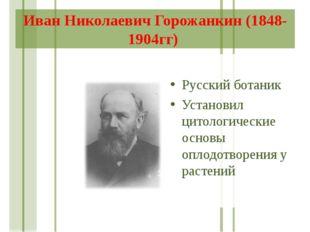 Иван Николаевич Горожанкин (1848-1904гг) Русский ботаник Установил цитологиче