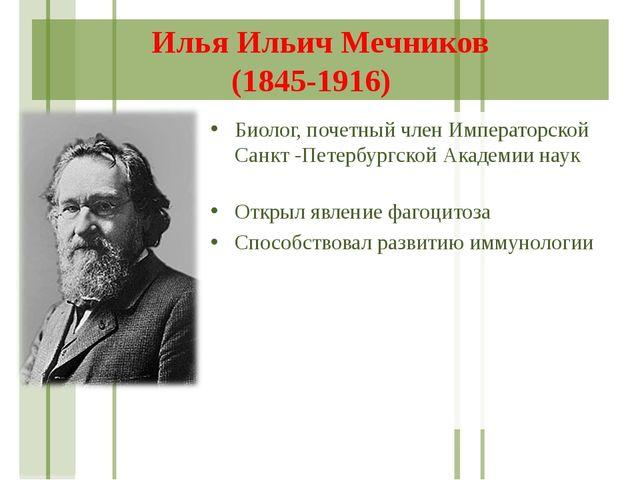 Илья Ильич Мечников (1845-1916) Биолог, почетный член Императорской Санкт -Пе...