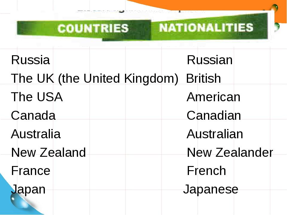 Russia Russian The UK (the United Kingdom) British The USA American...