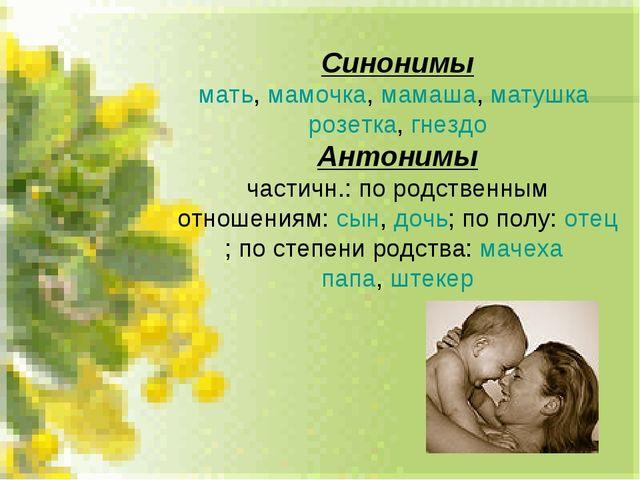 Синонимы мать, мамочка, мамаша, матушка розетка, гнездо Антонимы частичн.: по...