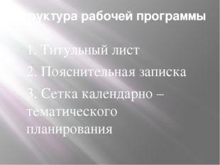 Структура рабочей программы 1. Титульный лист 2. Пояснительная записка 3. Сет