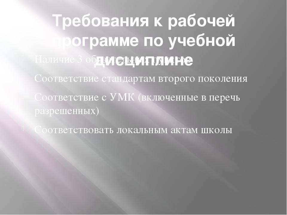 Требования к рабочей программе по учебной дисциплине Наличие 3 обязательных п...