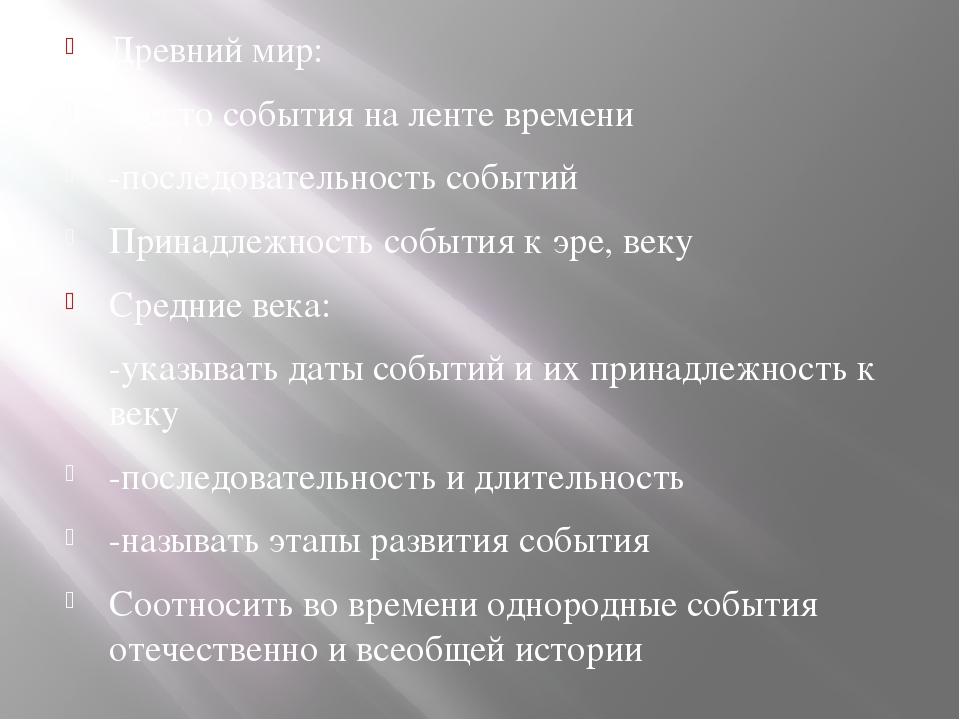 Древний мир: -место события на ленте времени -последовательность событий При...