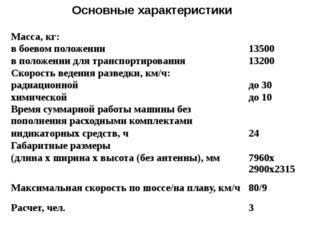 Основные характеристики Масса, кг:  в боевом положении 13500 в положении для