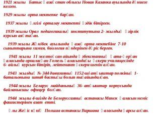 1921 жылы Батыс Қазақстан облысы Новая Казанка ауылында дүниеге келген. 1929