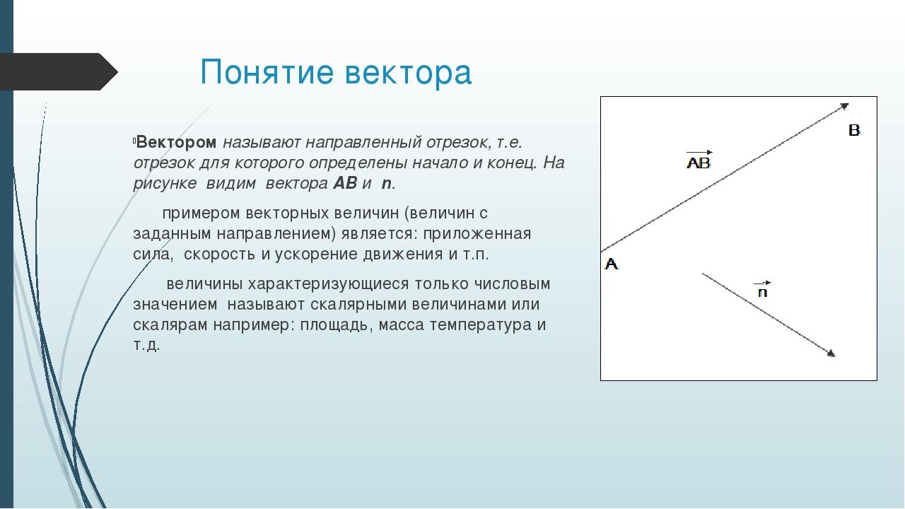 Понятие вектора Вектором называют направленный отрезок, т.е. отрезок для кото...