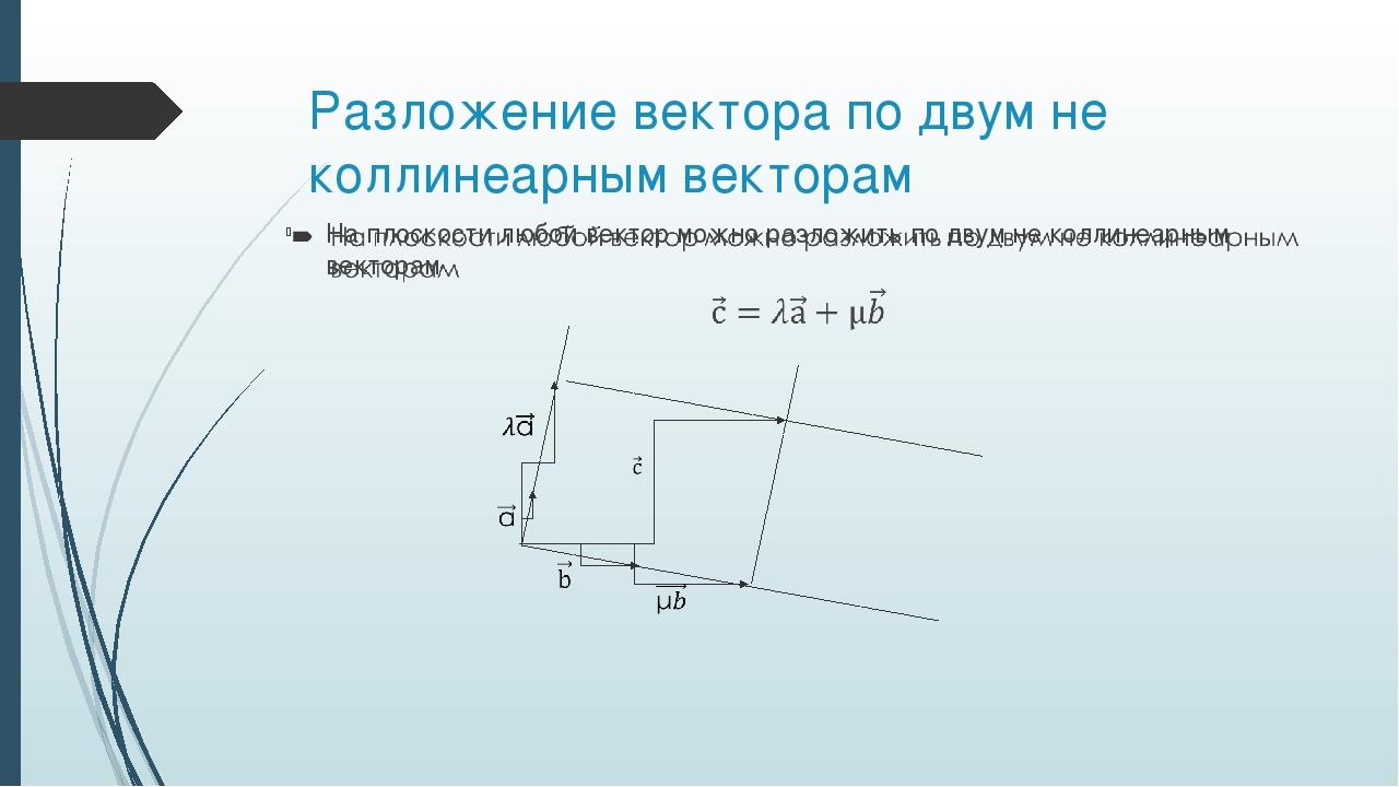 Разложение вектора по двум не коллинеарным векторам