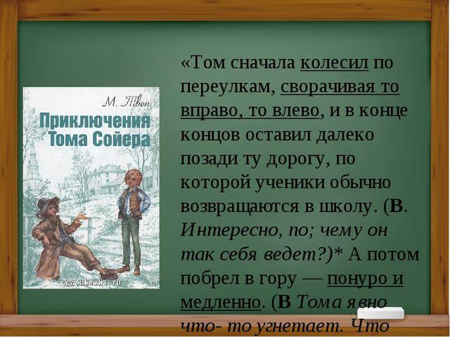 «Том сначала колесил по переулкам, сворачивая то вправо, то влево, и в конце...