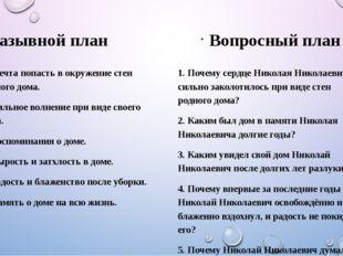 назывной план Вопросный план 1. Почему сердце Николая Николаевича сильно зак