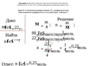 Дано Ответ: Решение Задача № 2. В результате реакции получено 22 г сульфида ж