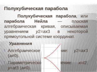 Полукубическая парабола Полукубическая парабола, или парабола Нейла — плоская